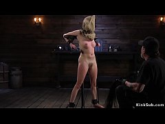 Brunette slave Cadence Luxe whipped while has bag on a head then gets water bondage