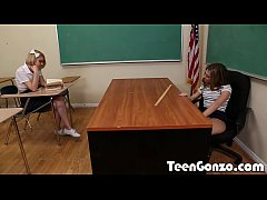TEENGONZO Private school girls lick and fuck each other in class