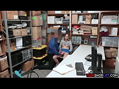 Slippery teen held by a security guard in his office