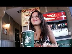 Latina college girl Bee dicked in public