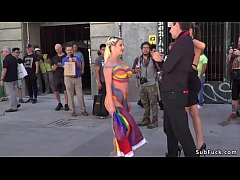 Huge tits blonde slave Sienna Day in bodypaint walked and disgraced in European street