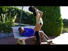 Hot brunette gives a blow job to a guy sleeping...