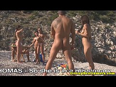Facialized babes on beach sucking dick