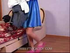 Petite Young Skinny Daughter Trying Dress Of Mother Made Father Horny