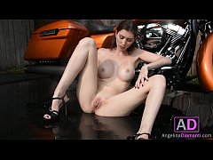 AD.04 Angelina Diamanti Strips and Finger Fucks Herself on a Motorcycle
