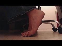 Sneaky Foot Boy Voyeur Watches Feet Underdesk Dirty Soles and Crunching Toes