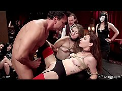 Redhead slave nipples tormented at party