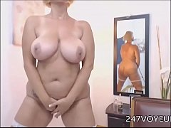 Blonde Mature with Big Boobs Stripping