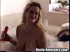 Busty Heather getting nasty on the tub