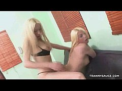 Two blonde shemale babes suck and fuck each other