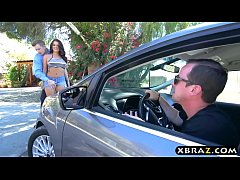 Big round ass teen 3some with a cop after being pulled over