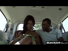 Cute ebony with great naturals fucked in the back of a car