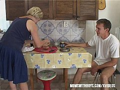 Blonde Granny Morning Cock Breakfast