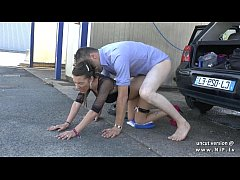 pretty young amateur french babe hard sodomized in a public carwash