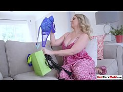 Big titted MILF stepmom lingerie show for step son