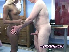 Blonde Fiona on her knees and blowing an old dude