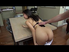 busty asian 18yo fucked on table and facial