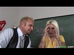 student with bigtits and tattoos fucked hard in the classroom