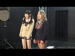 Japanese femdom Shuri Atomi and MIRANO makes slave cunnilingus