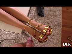 Home office footfuck in POV with hot sex goddess Shona River makes you cum