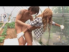 Asian farm babe getting fucked and creamed in the garden