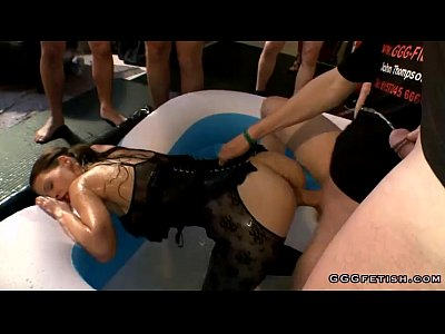 German Gangbang movie: Girl gives balls licking with blowjob