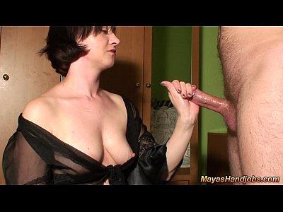 Femdom Handjob Cumshot video: multiple cumshots for Maya