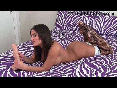 Lingerie Pantyhose Panties video: Stroke your rock hard cock to my sexy fishnets JOI