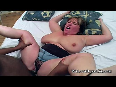 Amateur Interracial Bbw video: Big boobed melons Marie black gangbang