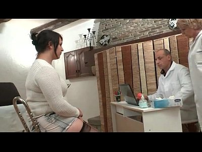 Bbw Dildo Ffm video: FFM BBW French brunette banged with a strapon dildo at the gyneco