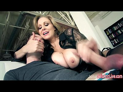 Boobs Blonde Handjob video: Busty Milf Julia Ann Makes Boy Toy Cum on His Face!
