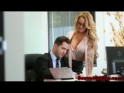 Blowjob Glasses Office video: Busty office secretary fucked on bosses desk