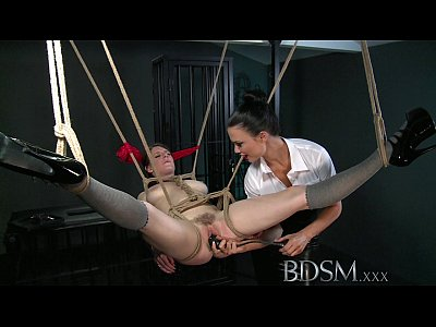 BDSM XXX Dom makes suspended subs pussy squirts like a fountain