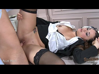 Stockings Lingerie Oral video: Brunette babe Allie Haze riding cock