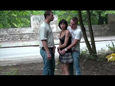Tits Sex Boobs video: Petite teen girl PUBLIC street sex gangbang