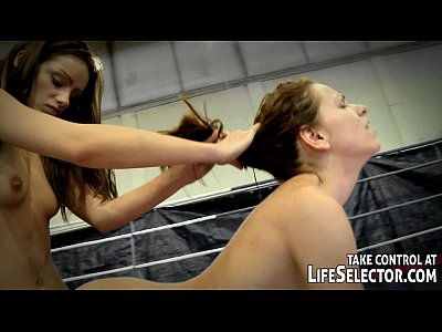 Teen Brunette Lesbian video: NudeFightClub presents Mira vs Sophie