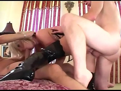 Blonde Blowjob Boots video: Blonde fucked in a corset stockings and boots