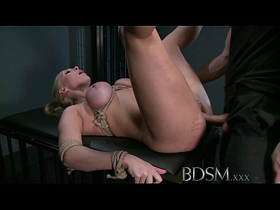 Bdsm Fetish Blonde video: BDSM XXX Blonde sub gets tied up and has her holes filled by Masters fingers cock and hook