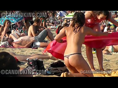 Hot young teen topless on the beach in sheer panties