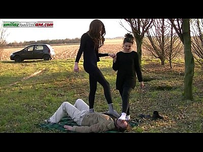 Domination Femdom Fetish video: First Time of Alana - Outdoor Foot Fetish Domination