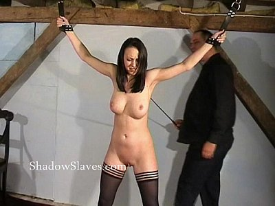 Hellpain whipping of tied Emily Sharpe in extreme spanking and humiliating domi