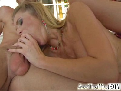Ass Traffic Busty girl has raunchy anal threesome and swallows spunk