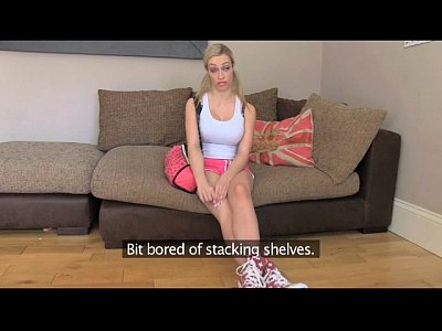 FakeAgentUK Cute and flexible blonde girl spreads her legs on casting couch