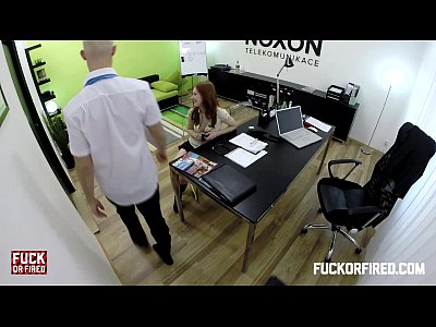 Assfuck Blowjob Creampie video: Redhead slut offers anal twice to keep her job