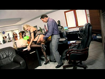 Secretary Donna fucked in black seamed stockings