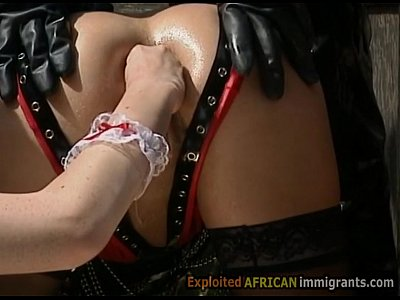 German Interracial Hardcore video: Fisting and anal sex in interracial BDSM orgy with African migrant