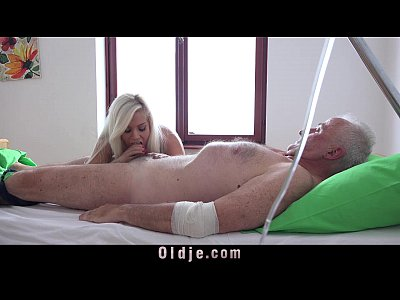 Sick grandpa gets a fucking treatment from his young busty nurse