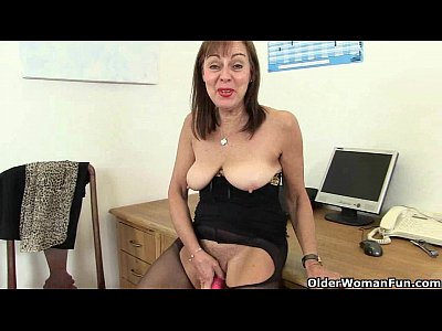 Stockings Milf Mature video: British office lady needs orgasmic relief