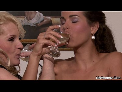 Teen Milf Lesbian video: His gf and mom start lezzy game with strapon