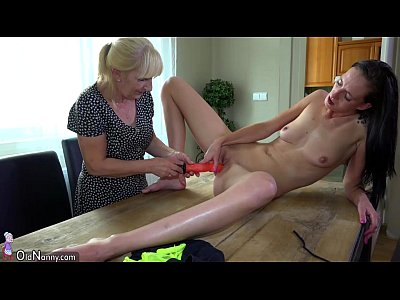 Chubby Dirty Granny video: Old lady and cute girl masturbating with dildo on the desk
